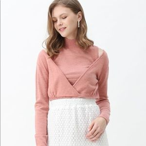 Chicwish Two Piece Mock Neck Knit Top NWT